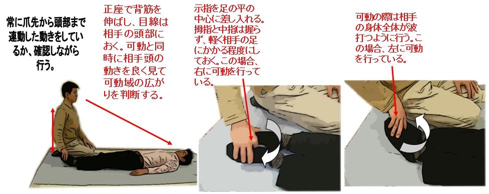 相手の足関節側面に正座をし、姿勢を正す。