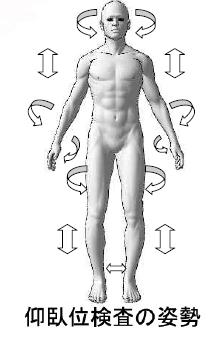 仰臥位骨格検査の姿勢/日本回復整体総合学院/股関節痛/尾てい骨痛