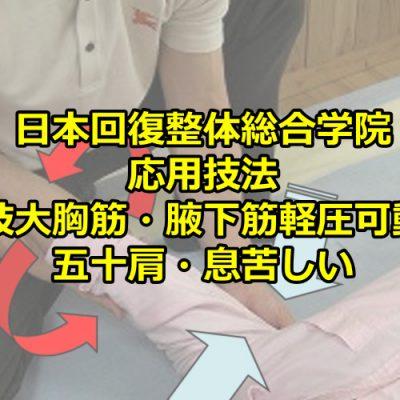 上肢大胸筋・腋下筋軽圧可動法/五十肩・息苦しい