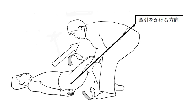 牽引は相手の膝を曲げた角度で牽引をかける