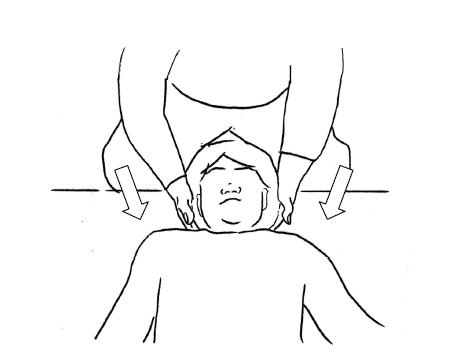 呼気で相手の頚椎に軽く触れる。